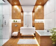 Modern marble large bathroom design. Modern large bathroom with wood and marble royalty free stock photo