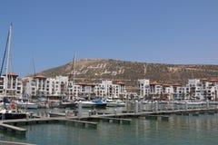 Modern marin- mycket av härliga yachter i den Agadir staden i Marocko i Afrika Royaltyfri Bild