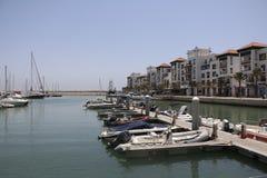 Modern marin- mycket av härliga yachter i den Agadir staden i Marocko i Afrika Royaltyfria Bilder