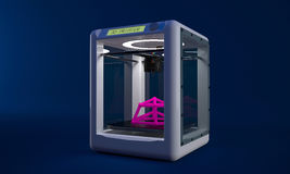 A modern marvel is the new 3D printers that can make most anything of plastic. 3D printer on blue background Royalty Free Stock Images