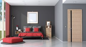 Red and black modern master bedroom Stock Photography