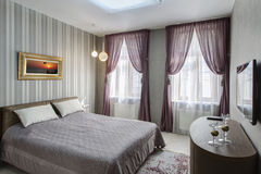 Modern master bedroom interio Stock Images