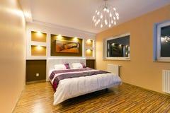 Modern master bedroom interior royalty free stock photos