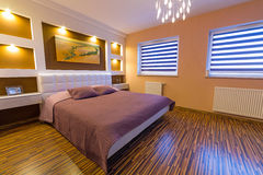 Modern master bedroom interior Royalty Free Stock Images