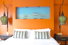Modern master bedroom interior. In Pattaya hotel Stock Images