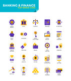 Modern material Flat design icons - Banking and Finance. Modern Color Flat design icons for Banking and Finance. Icons for web and app design, easy to use and Stock Images