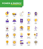 Modern material Flat design icons - Power and Energy. Modern Color Flat design icons for Power and Energy. Icons for web and app design, easy to use and highly Stock Photo