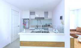 Modern matsal, kök i lyxiga lägenheter Royaltyfria Bilder