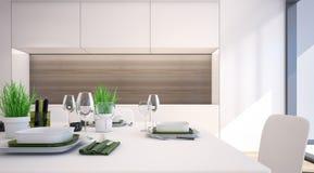 Modern matsal med den vita tolkningen kabinett/3D Royaltyfri Foto