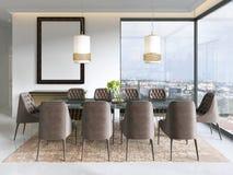 Modern matsal med hängande lampor på, där är stolar och tabellaktiveringen med utsmyckade objekt på marmorgolvet royaltyfri illustrationer