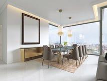 Modern matsal med hängande lampor på, där är stolar och tabellaktiveringen med utsmyckade objekt på marmorgolvet stock illustrationer