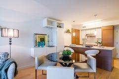Modern matsal med kök Fotografering för Bildbyråer