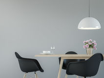 Modern matsalinre med vit minsta tolkningbilden för stil 3d för den svart & Arkivfoton