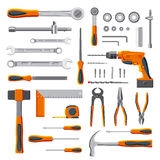 Modern mechanic DIY tools set. Modern mechanic tools set collection on white background vector stock illustration