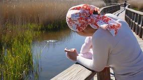 Modern med behandla som ett barn den hållande ögonen på simningsothönan i nationalpark stock video