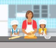 Modern med ungar bakar tillsammans på ett kök stock illustrationer