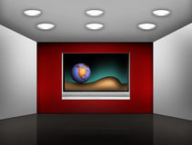 Modern media room. With TV on the red wall Royalty Free Stock Images