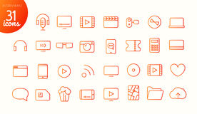 Modern media web and mobile app thin line icons. Collection. Entertainment Stock Photos