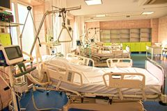 Modern medical bed and a special device in the modern hospital o. F resuscitation royalty free stock images
