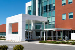 Modern medical center entrance. Modern medical center building main entrance Royalty Free Stock Image