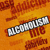 Modern medical concept: Alcoholism on the Yellow Wall . Modern medical concept: Alcoholism on the Yellow Brick Wall . Alcoholism - on Brickwall with Wordcloud Stock Photo