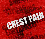 Modern medical concept: Chest Pain on Red Brickwall. Medicine concept: Red Brickwall with Chest Pain on it . Chest Pain - on Brickwall with Wordcloud Around Stock Photo