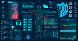 Modern medical examination HUD style. stock illustration