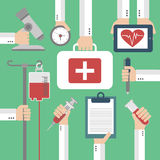 Modern Medical Flat background with hand Royalty Free Stock Photo