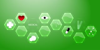 Modern medical innovation technologies concept. Infographics. Abstract science background. Hexagon geometric design. Vector royalty free illustration
