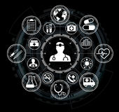 Modern medical interface with icons 3D rendering. Modern medical interface with icons on black background 3D rendering Stock Photo