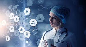 Modern medical technologies concept . Mixed media Royalty Free Stock Photography