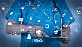 Doctor working on a digital tablet. Modern medical technology concept.Doctor working on a digital tablet on texture background royalty free illustration