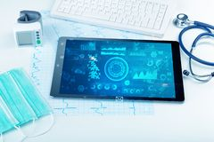Modern medical technology system and devices stock photography