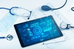 Modern medical technology system and devices. Report and cell composition concept with modern medical technologyn royalty free stock photos