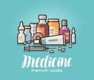 Modern medicin, apotekbaner Läkarbehandling preventivpillerar, flaskor, pharmaceuticsbegrepp den främmande tecknad filmkatten fly stock illustrationer