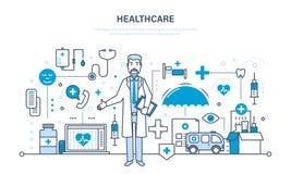 Modern medicin, vårdsystem, doktor och speciala hjälpmedel, utrustning royaltyfri illustrationer
