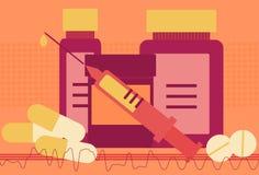 Modern Medicine. Medicine collage featuring pill, drug bottles, a syringe and background patterns Royalty Free Stock Images