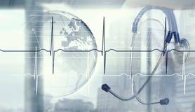 Modern medicine cardiology concept . Mixed media vector illustration