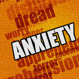 Modern medicine concept: Anxiety on Yellow Brickwall . Modern medical concept: Anxiety - on the Brickwall with Word Cloud Around . Yellow Wall with Anxiety on Stock Photography