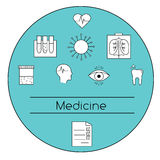 Modern medicine concept vector illustration. Medical tests and researches line icons. Modern medicine concept vector illustration. Medical line icons, symbols of Stock Photo