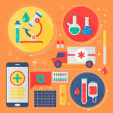 Modern Medicine and healthcare services flat concept. Medical pharmacy technology diagnostics infographics design, web. Elements, poster banners Royalty Free Stock Photos