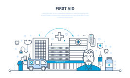 Modern medicine, medical care, healthcare and medical insurance, first aid. Royalty Free Stock Photo