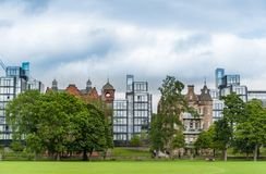 Integration of modern and medieval architecture in Edinburgh Sco. Modern and medieval architecture in Edinburgh Scotland Royalty Free Stock Image