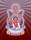 Modern Meditation. Person in lotus position on detailed dragon background. All elements separate Royalty Free Stock Image