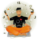 Modern Meditation. Meditation is the way to save time Stock Image