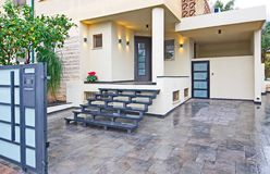 Modern Mediterranean house entrance Royalty Free Stock Images