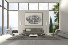 Modern mediterranean seaside living room Stock Photography