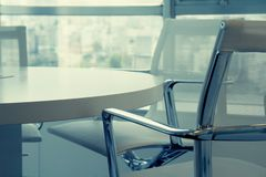 Modern meeting room. Partial view of a modern conference table Stock Photography