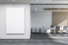 Modern meeting room with banner stock photography