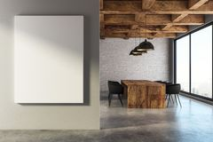 Modern meeting room with banner. Modern loft meeting room interior with empty banner, furniture and city view. Presentation concept. Mock up, 3D Rendering Royalty Free Stock Image